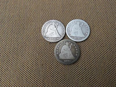 3 Liberty Seated quarter Dollar 1873 1875 1876 / Free Shipping