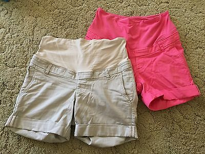 H&M Mama maternity shorts 2 pairs beige and pink