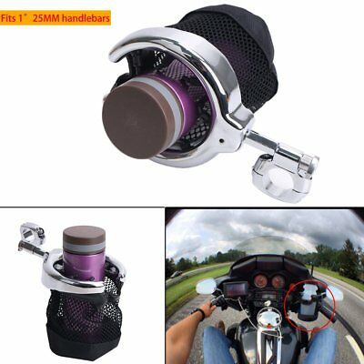 "1"" 25MM Universal Black Motorcycle Handlebar Cup Holder Black For Honda Yamaha"