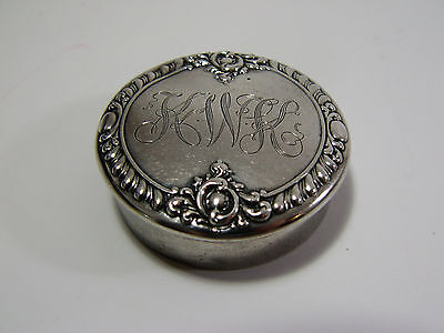 Antique Dominick & Haff Sterling Silver Repousse Pill Box - Mongrammed KWK