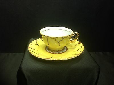 Hand Painted Yellow Brown Demitasse Cup & Saucer Japan