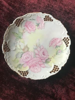 Vintage Hand painted plate done in pastels, roses, with gold trim, by Jessie Lee