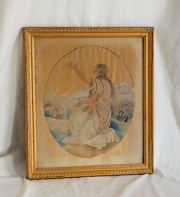 Antique Silk Embroidered Picture Vintage Silk Embroidery & Painted Face French?
