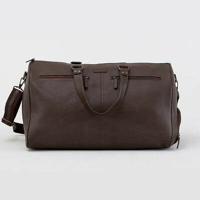 NEW Kinnon Oxley Mens Overnight Bag, Chocolate Leather