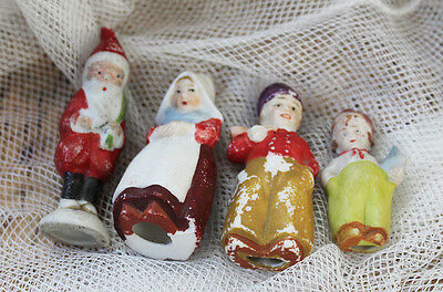 4 Antique Santa And Dutch Boy Family Bisque Penny Dolls Germany Frozen Charlotte