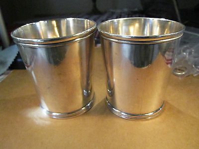 Rare Pair of Coin Silver Mint Julep Cups, Eugene Jaccard & Co St Louis, 244.8g