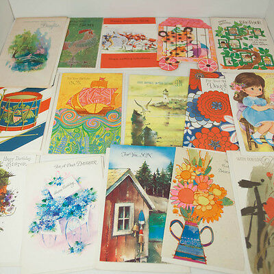 Lot 15 Vintage Unused Birthday Greeting Cards Son Daughter 1960s 1970s