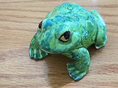 "Vintage GREEN Ceramic FROG TOAD Statue Figurine A1118 3"" X 2"" HAND PAINTED EYES"