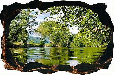 Cave Effect Crack View Mountain Lake Nature Mirror Wall Sticker Poster M9-184