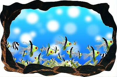 Cave Effect Crack View Fish Coral Reef Sea Ocean Wall Sticker Poster M9-131