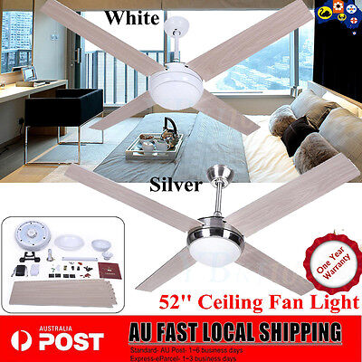 52 inch (1300mm) 4 Blade Ceiling Fan with Light and Remote 2 Colors to Choose AU