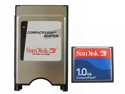SanDisk 1GB CF Compact Flash+PCMCIA Adapter=1G ATA Flash Disk For JANOME Fanuc