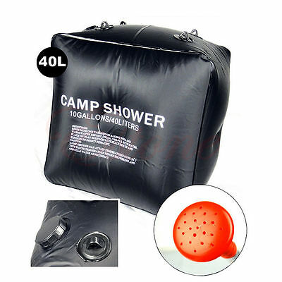 Black Outdoor Hiking Folding Solar Camp Shower Water Bathing Bag 40L 10 Gallons