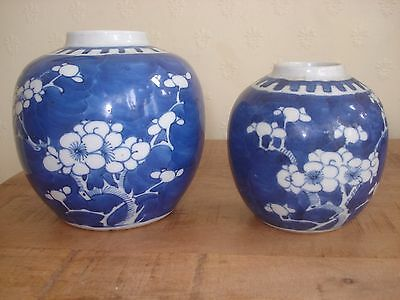 2xsuperb chinese19th  qing period blue white ginger jars
