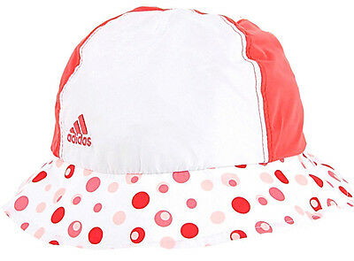 ADIDAS Infants Bucket Hat Girls & Boys Schutz-UPV 50+ Cap Rot-Weiß F49953