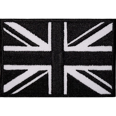 Embroidered Iron On Black UK Flag Patch Sew On Union Jack British Badge Applique