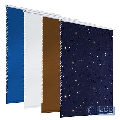 Thermal Roller Blackout Roller Blind White/brown/blue/blue +Stars No Drill Fit