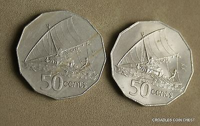 2X Fiji Circulated 50 Cent Both Nautical Theme Circulated 1976 & 1981  #kzc8
