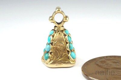 Antique English Early Victorian 15K Gold Turquoise & Citrine Seal Fob Charm 1840