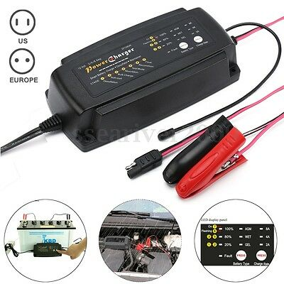 12V 2/4/8A Automatic Smart Car Battery Charger 7-Stage Maintainer&Desulfator