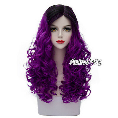 Lolita Purple Mixed Black Long 60CM Curly Fashion Party Cosplay Wig + Cap New