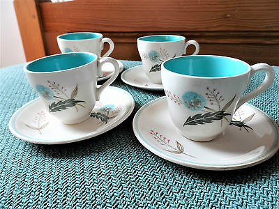 GRINDLEY 1930's? NORDIC STYLE SHABBY CHIC ALLIUM DEMI TASSE SET 4 CUPS SAUCERS