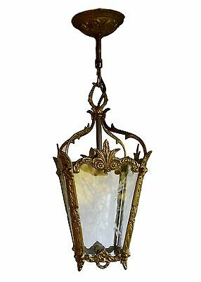 French Napoleon III Bronze & Cut Glass Entry Lantern Lighting Lamp Light