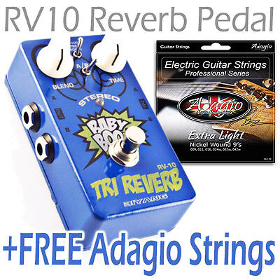 Biyang RV10 Reverb Guitar Effects Pedal +FREE Adagio Electric Guitar String Pack
