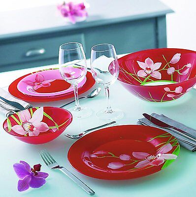 """Luminarc """"Red Orchis"""" Unbreakable Tempered Glass Dinnerware Set of 19-Pieces"""