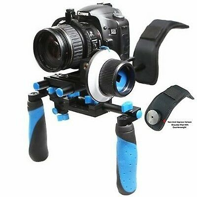 Morros DSLR Rig Shoulder mount rig Stabilizer and Follow Focus With Gear Ring...