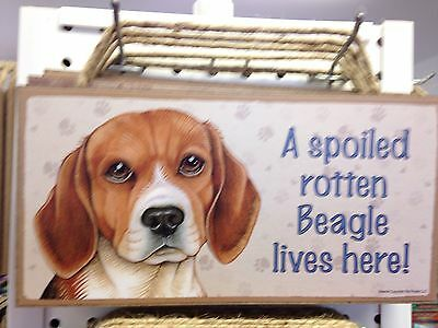 Spoiled Rotten Beagle Wood SIGN PLAQUE 5 X 10 USA Made