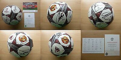 2015-16 Man Utd Squad Signed FA Cup Winners Football with Official COA (11010)