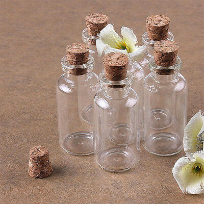 0.5/1/2ML Cute Mini Small Cork Stopper Glass Bottle Bulk Vial Jars Containers