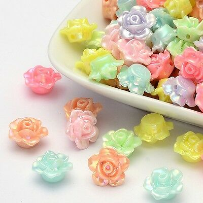 50Pcs Mixed Color Flower Rose Opaque Lustre Plastic Acrylic Beads 13x8mm