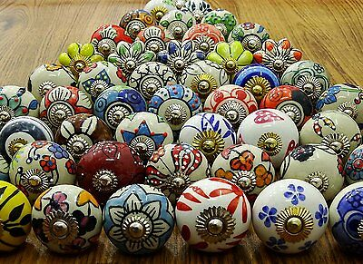 20Pcs Multicolor Vintage Look Flower Ceramic Knobs Door Handle Cabinet Drawer