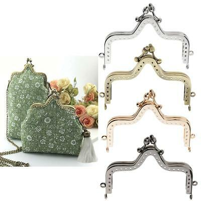 Plated Metal Coin Purse Clutches Frame Kiss Clasp Lock Sew in DIY Handbag Craft
