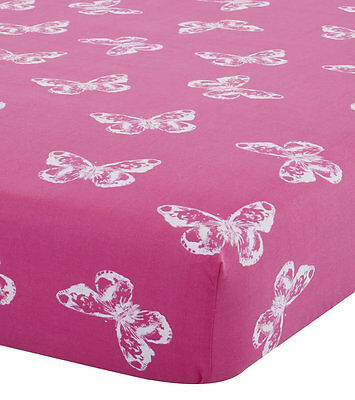 Girls, Pink Butterfly Double Fitted Sheet