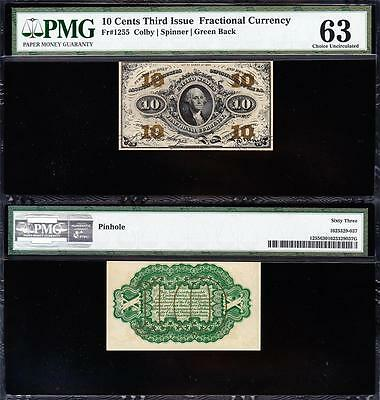 Awesome CHOICE UNCIRCULATED 3rd Issue 10 cent Fractional! PMG 63! FREE SHIP TC23