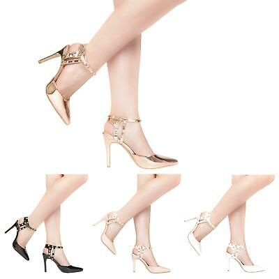 New Womens Ladies Ankle Strap Rock Stud High Stiletto Heel Pointy Sandals Shoes