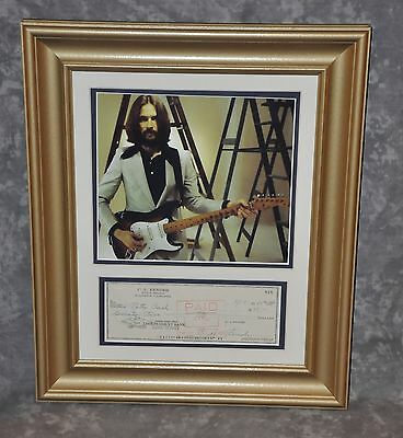 """Eric Clapton Matted & Framed Display 11"""" x 14"""" w/ Leo Fender Signed 1967 Check"""