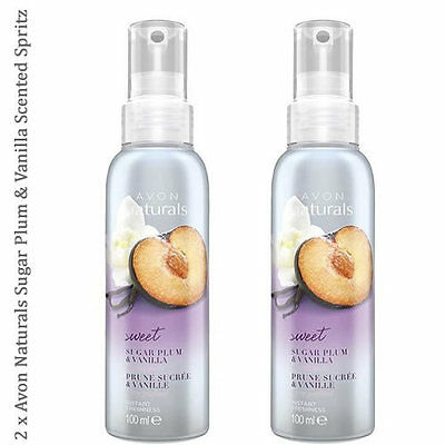 2 x Avon Naturals Scented Spritz Sugar Plum & Vanilla Room Body Spray 100ml