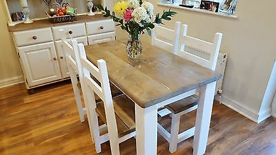Solid Pine Rustic Shabby Chic Farmhouse Table And Chairs IN WHITE OR CREAM