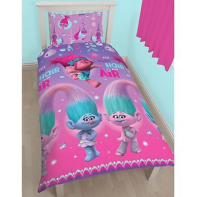 Trolls Glow Single Duvet Cover Set Rotary Pink Purple Girls Bedding New