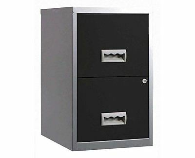 Black and Silver 2 Drawer A4 Filing Cabinet
