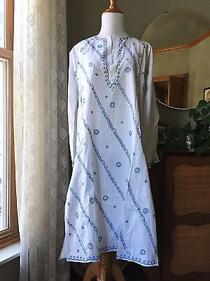 Antique Caftan Cotton Embroidered Dress Tunic Boho Vintage Indian Type Afghani