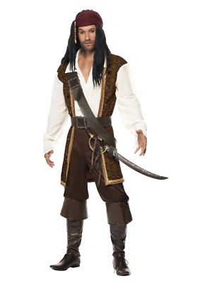 High Seas Caribbean Pirate Jack Sparrow Movie Halloween Fancy Dress Costume
