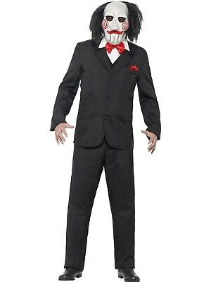 SAW Jigsaw Creepy Costume Halloween Movie Horror Scary Puppet With Mask
