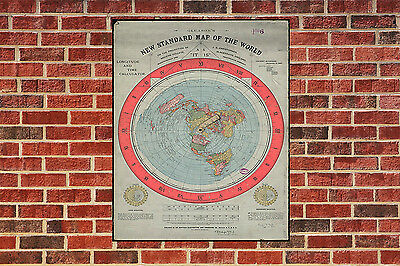 METAL Flat Earth Map Gleasons map 1892 New Standard Map of the World SIGN