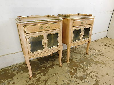 Pair c1950 Vintage & Restored French Louis XV Antiqued Nightstands End Tables