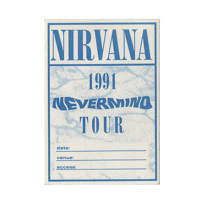 Nirvana Authentic 1991 Nevermind Tour satin cloth Backstage Pass
